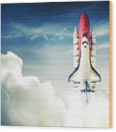 Space Shuttle Taking Off On A Mission Wood Print