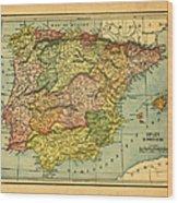Spain & Portugal Vintage Map Wood Print
