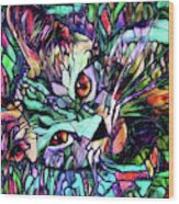 Sparky The Stained Glass Kitten Wood Print