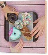 Specialty Doughnuts On A Tray Wood Print