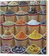 Spices Market In Dubai Wood Print