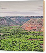 Sprawling Panorama Of Palo Duro Canyon And Capitol Peak - Texas State Park Amarillo Panhandle Wood Print