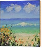 Spring Flowers And Sea And Clouds Wood Print