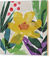 Spring Garden Yellow- Floral Art By Linda Woods Wood Print