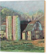 Spring On The Farm - Old Barn With Two Silos Wood Print