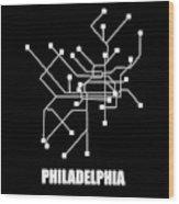 Square Philadelphia Subway Map Wood Print