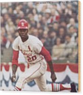 St. Louis Cardinals Lou Brock, 1967 World Series Sports Illustrated Cover Wood Print