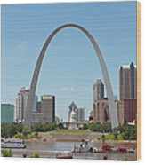 St. Louis Skyline With The Gateway Arch Wood Print