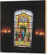 Stained Glass At Moody Mansion Wood Print