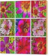 Stained Glass Pink Flower Collage  Wood Print