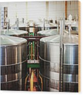 Stainless Steel Holding Tanks In A Wood Print