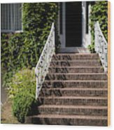 Stairs Leading To The Entrance Of A House Wood Print