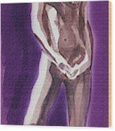 Standing Nude Model Gesture Xxxix Wood Print