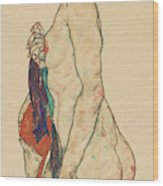 Standing Nude With A Patterned Robe, 1917  Wood Print
