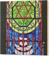 Star Of David Stained Glass Wood Print