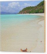 Starfish On Beach Sand Wood Print