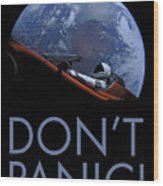 Starman Don't Panic In Orbit Wood Print