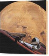 Starman In Orbit Around Mars Wood Print