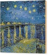 Starry Night - Digital Remastered Edition Wood Print
