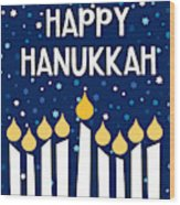 Starry Night Hanukkah Menorah- Art By Linda Woods Wood Print