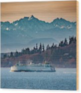 State Ferry And The Olympics Wood Print