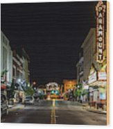 State Street With The Newly Lit Bristol Sign Wood Print