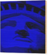 Statue Of Liberty In Blue Wood Print