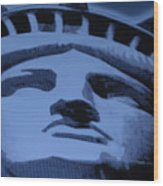 Statue Of Liberty In Cyan Wood Print