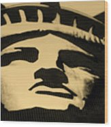 Statue Of Liberty In Dark Sepia Wood Print