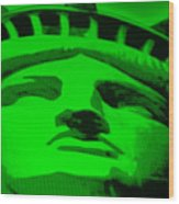 Statue Of Liberty In Green Wood Print