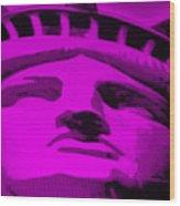 Statue Of Liberty In Purple Wood Print