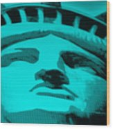 Statue Of Liberty In Turquois Wood Print