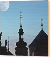 Statues And Spires In Silhouette, Prague Wood Print