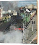 Steam Train Leaving Station Wood Print