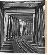 Steel Girder Railway Bridge Wood Print