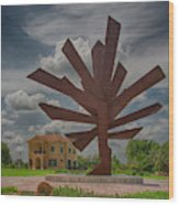Steel Palm - Peace River Botanical And Sculpture Gardens Wood Print