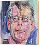Stephen King Portrait Wood Print