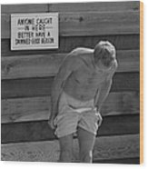 Steve Mcqueen Undresses Outdoors Wood Print
