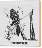 Steven Tyler Microphone Aerosmith Black And White Watercolor 02 Wood Print