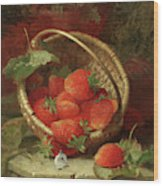 Still Life Of Strawberries With A Cabbage White Butterfly Wood Print