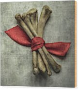 Still Life With Bones And Red Ribbon Wood Print