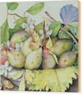Still Life With Plums, Walnuts And Jasmine Wood Print