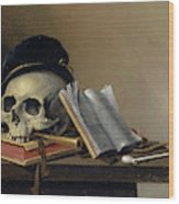 Still Life With Skull, Books, Flute And Pipe Wood Print