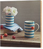 Still Life With Striped Cups Wood Print