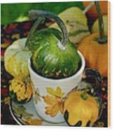 Still Live With Autumn Coffee Cup And Gourds Wood Print