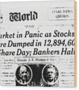 Stock Market Crash On World Headline Wood Print