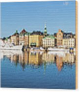 Stockholm Old City Fantastic Golden Hour Sunrise Reflection In The Baltic Sea Wood Print