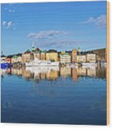 Stockholm Old City Sunrise Reflection In The Baltic Sea Wood Print
