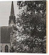 Stone Chapel - Black And White Wood Print