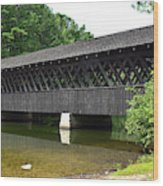 Stone Mountain Covered Bridge Panorama View Wood Print
